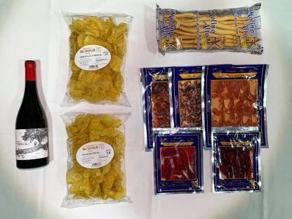 kit de picoteo con vino