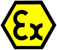 Logo para identificar equipación ATEX - Pregunte por nuestras equipaciones en DENIOS -  900 37 36 15