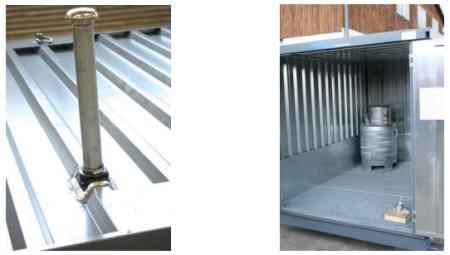 Detalle del tanque de almacenamiento de ventilación –  Colector de la sustancia peligrosa, en la esquina posterior izquierda