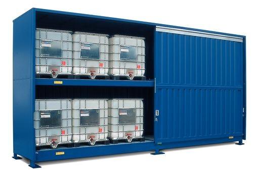 Contenedor modular APQ de 7 m² para 12 GRG, 8/16 palets o 32 bidones, puerta corredera: SC 2K714.OST