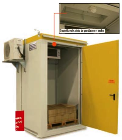 Almacén de acero con resistencia al fuego para el almacenamiento de peróxidos orgánicos, 200 kg. También disponibles para 1.000 o 5.000 kg.