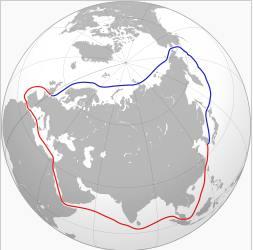 Ruta marítima del Norte (azul) y ruta alternativa a través del Canal de Suez (rojo). Ilustración por Bobamnertiopsis en la wikipedia