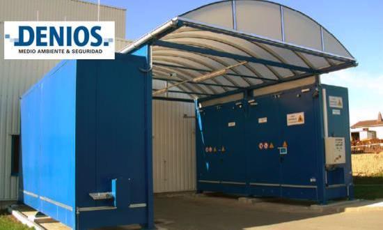 Sistema de almacenes para líquidos inflamables con techo translucido