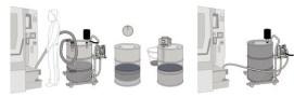 Demostración del funcionamiento del aspirador de líquidos