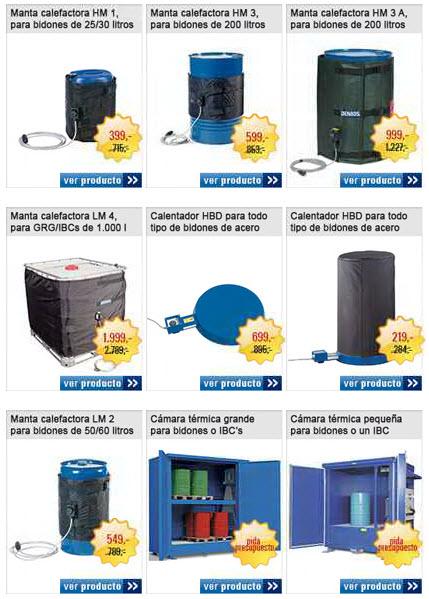 Oferta de mantas calefactadas, calentador de bidones y cámaras de calentamiento