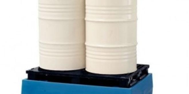 Cubeto de DENIOS PolySafe ECO en polietileno (PE), con palets en PE, para 2 bidones de 200 litros