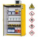 Armario de seguridad resistente al fuego G-1201, con 3 estantes y puertas batientes, amarillo