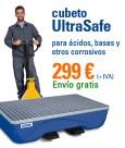 Cubeto de retención UltraSafe lacado, con rejilla y patas integradas, para 2 bidones de 200 litros en denios.es