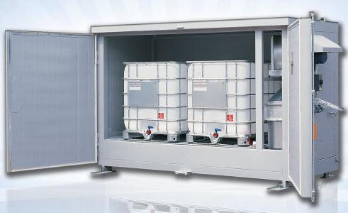 Bodega de calentamiento para dos tanques de 1000 litros
