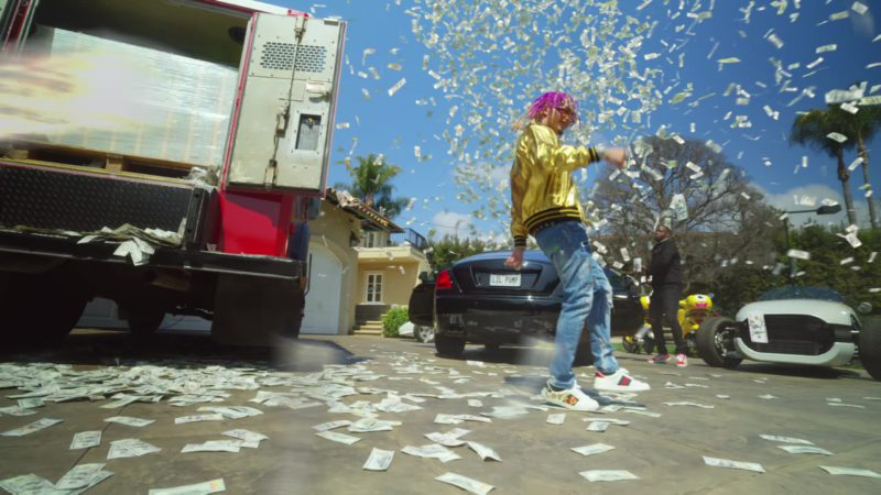 Gucci Metallic Gold Leather Jacket Guccy And Gucci Sneakers Worn by Lil Pump in ESSKEETIT