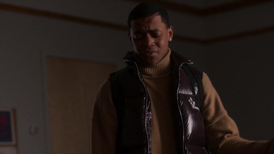 """Moncler Vest of Michael Rainey Jr. as Tariq St. Patrick in Power Book II: Ghost  S01E01 """"The Stranger"""" (2020)"""