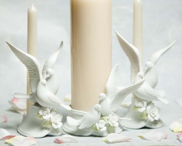 Traditional Dove Wedding Unity Candle Holder