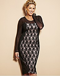 Claire Sweeney Fitted Lace Black Plus Size Dress