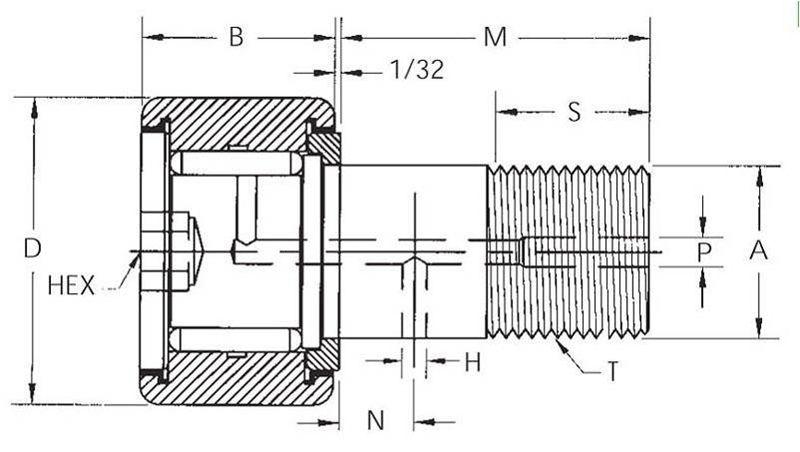 HR-B, HR-XB Heavy Stud Hex Slot On Emerson Bearing
