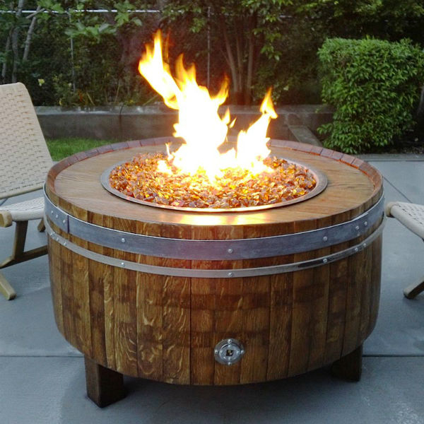 Diy Heatilator Gas Fireplace Conversion Fire Glass Rock With Moderna Wine Barrel Fire Pit Table - Chat Height By Vin De