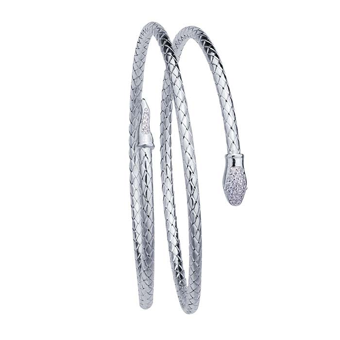 Sterling Silver Rhodium-Plated Double-Wrap Snake Bangle