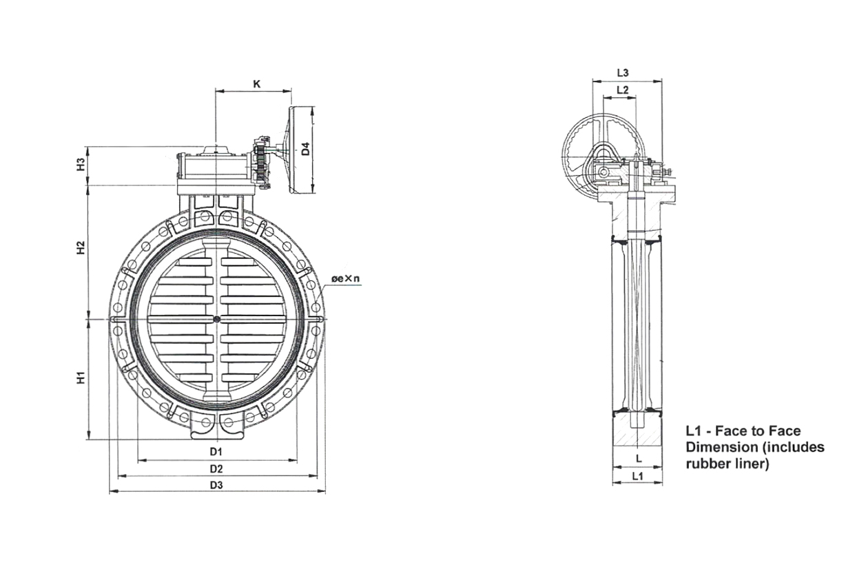 28 to 40 Inch (in) Gear Type Butterfly Valves On TVI