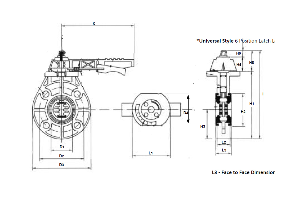 Item # DN-100, 4 Inch (in) Universal Butterfly Valve On TVI