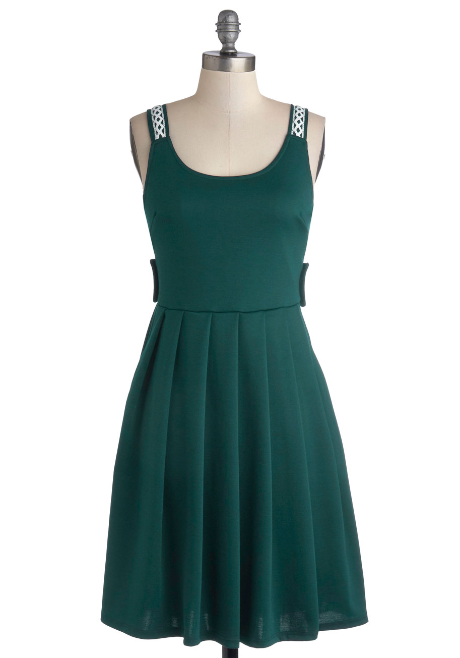 Crisscross Country Trip Dress In Jade Mod Retro Vintage