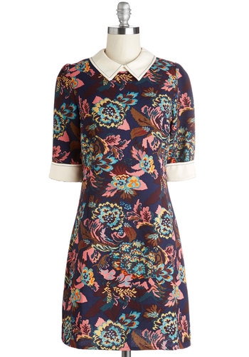 Antique Aesthetic Dress in Tapestry by Miss Patina - Multi, Floral, Peter Pan Collar, Work, 60s, Mod, Shift, Short Sleeves, International Designer, Mid-length, Vintage Inspired