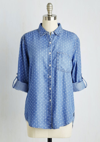 Chambray Ole Top - Blue, Polka Dots, Print, Work, Casual, Long Sleeve, Woven, Good, Collared, Mid-length