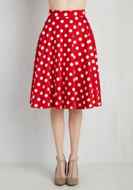 ModCloth Bugle Boogie Skirt in Red Dots