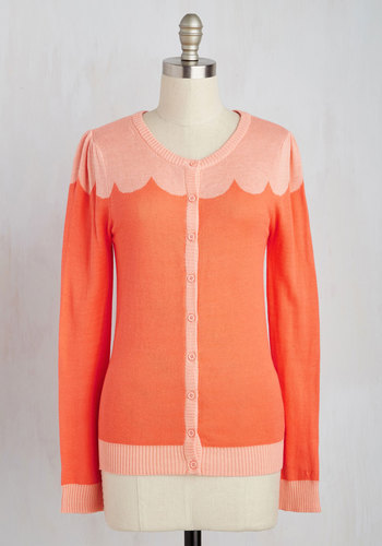 Paris Cafe Cardigan in Coral