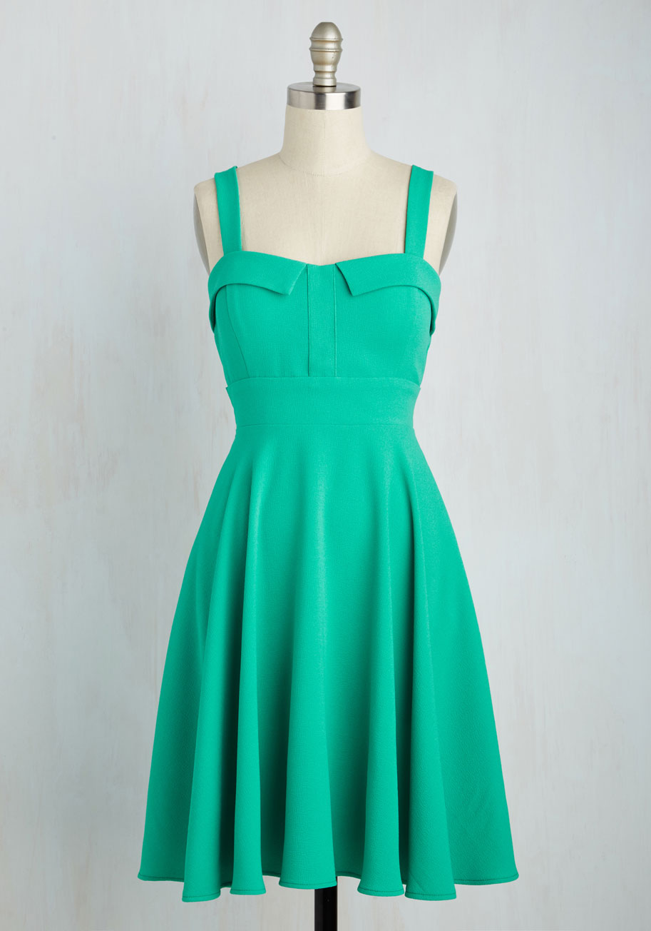Pull Cherry Dress In Jade Mod Retro Vintage Dresses