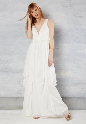 Slow Dance Splendor Maxi Dress in White - Solid, Tiered, Belted, Wedding, Bride, Empire, Maxi, Sleeveless, Spring, Woven, Best, Long, Graduation, Prom, White, Summer, Fall, Winter