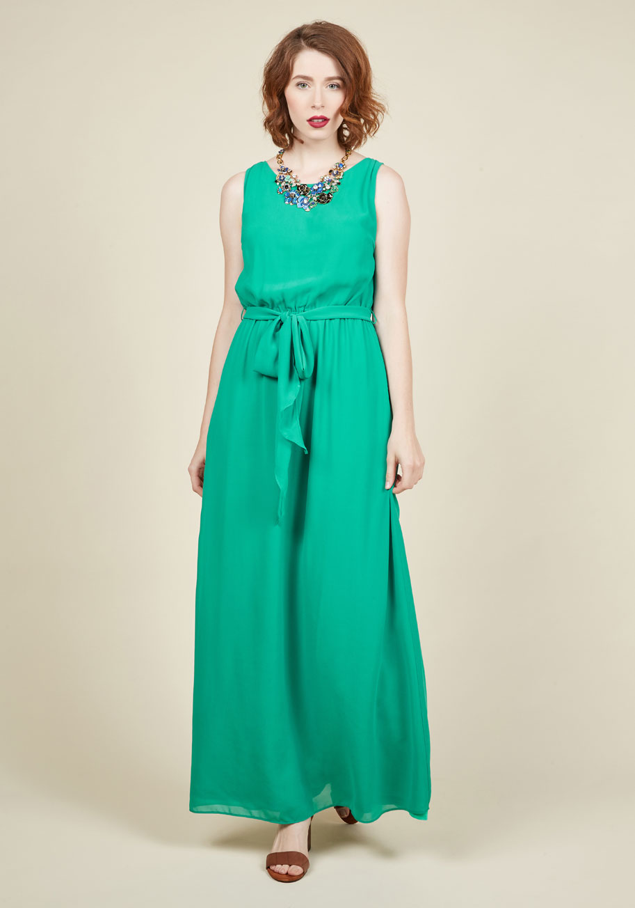 ' Flowing Places Maxi Dress In Jade Mod Retro