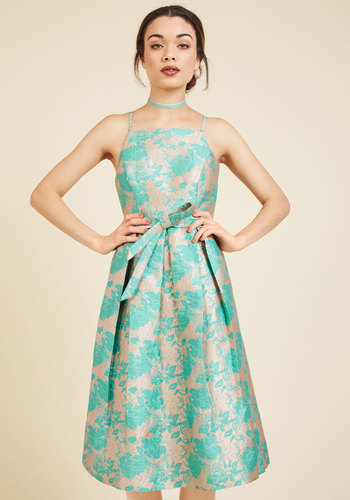 Penchant for Opulence A-Line Dress in Aqua Blossoms