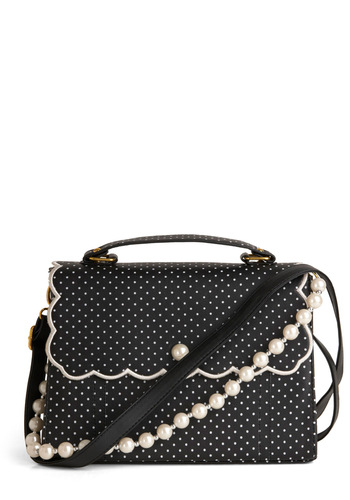 Pin Dots and Proper Bag - Vintage Inspired, Black, White, Polka Dots, Buckles, Scallops, Pearls, Party, Daytime Party, 50s