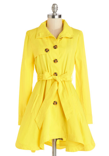 Just Called to Say Hyannis Coat in Yellow by Jack by BB Dakota - Good, Yellow, Cotton, Woven, Yellow, Solid, Buttons, Pockets, Belted, Casual, Nautical, Long Sleeve, Long Sleeve, Spring, Variation, Long, 2