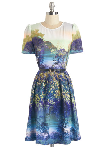 Never Never Landscape Dress - Blue, Multi, Novelty Print, Casual, Quirky, A-line, Short Sleeves, Woven, Mid-length, Work