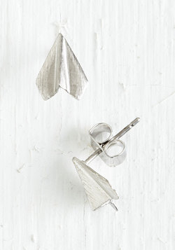 Plane and Simple Earrings in Silver