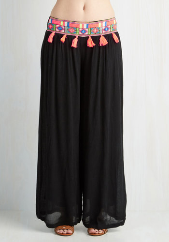 Hello, Sunshine! Cover-Up Pants - Woven, Beach/Resort, Boho, 60s, 70s, Festival, Cover-up, Black, Multi, Tassels, Wide Leg