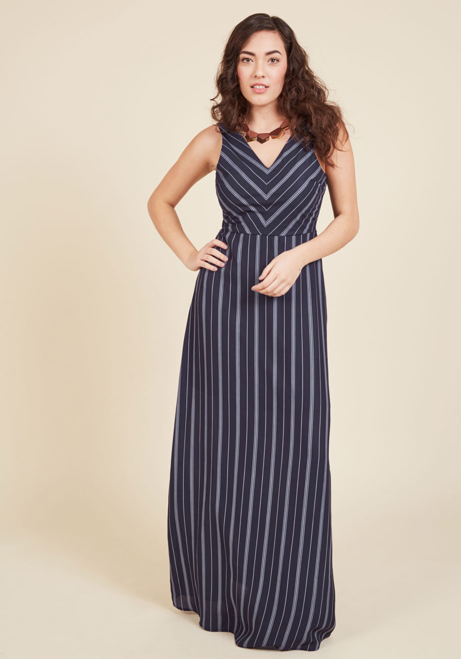 Best Budapest Maxi Dress In Navy  Mod Retro Vintage