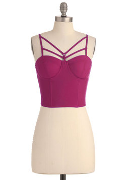 edge of the coastline bustier top in magenta (modcloth)
