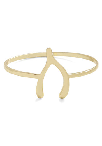 As You Wishbone Bracelet - Gold, Solid