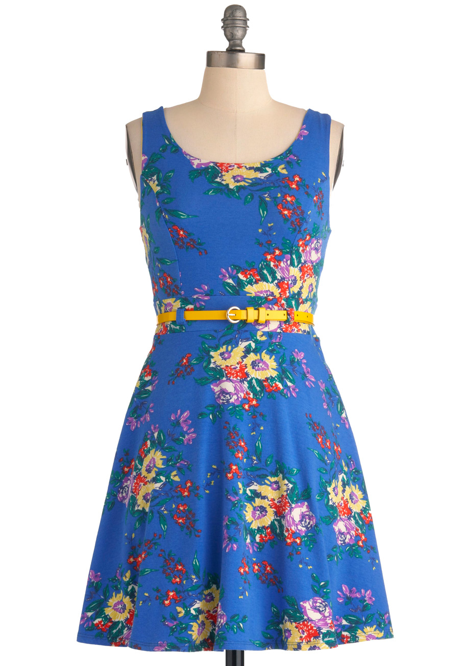 Red Blue and Yellow Floral Dress