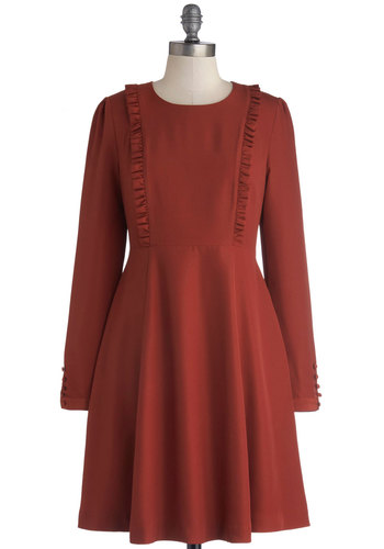 Greeting of the Minds Dress by Bea & Dot - Private Label, Woven, Mid-length, Red, Solid, Ruffles, Casual, A-line, Long Sleeve, Better, Crew, Pockets, Exclusives