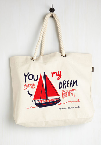 Quite the Catch Bag - Cotton, Woven, Multi, Novelty Print, Casual, Nautical, Travel
