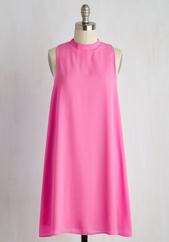 Sweet and Tidy Dress - Pink, Solid, Casual, Shift, Sleeveless, Spring, Woven, Good, Valentine's, Mid-length