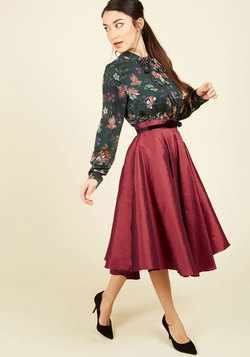 Bottoms - Mellifluous Maven Midi Skirt in Ruby