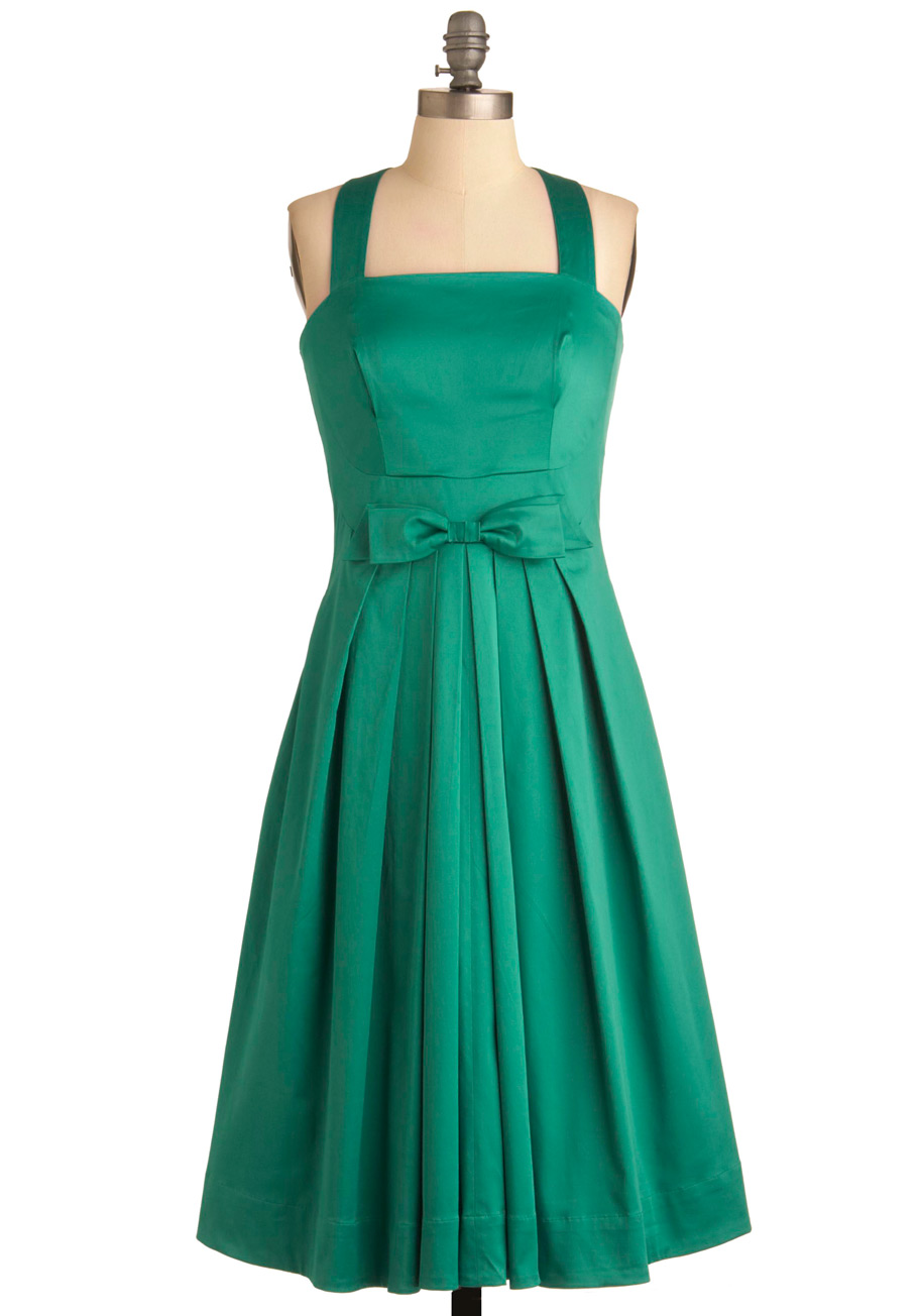 Emily And Fin Pleased Dress In Green Mod