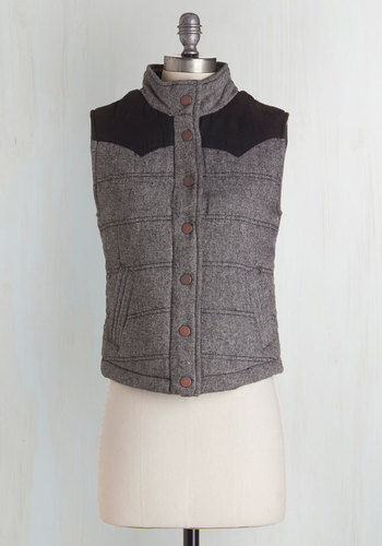House Show Headliner Vest - Short, Woven, Grey, Black, Solid, Buttons, Pockets, Casual, Fall