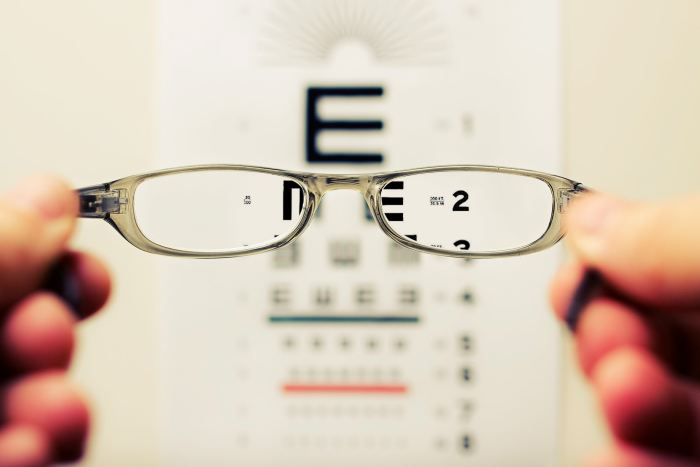 eyeglasses with blurry eye chart in background