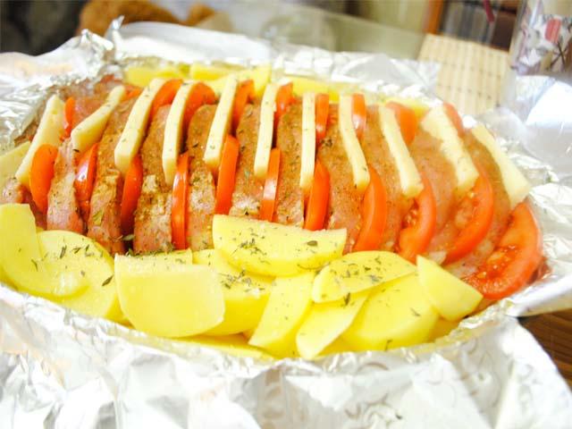 Thịt lợn Harmonica với khoai tây