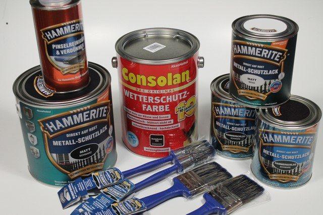 hammerite metall schutzlack consolan wetterschutz farbe im test. Black Bedroom Furniture Sets. Home Design Ideas
