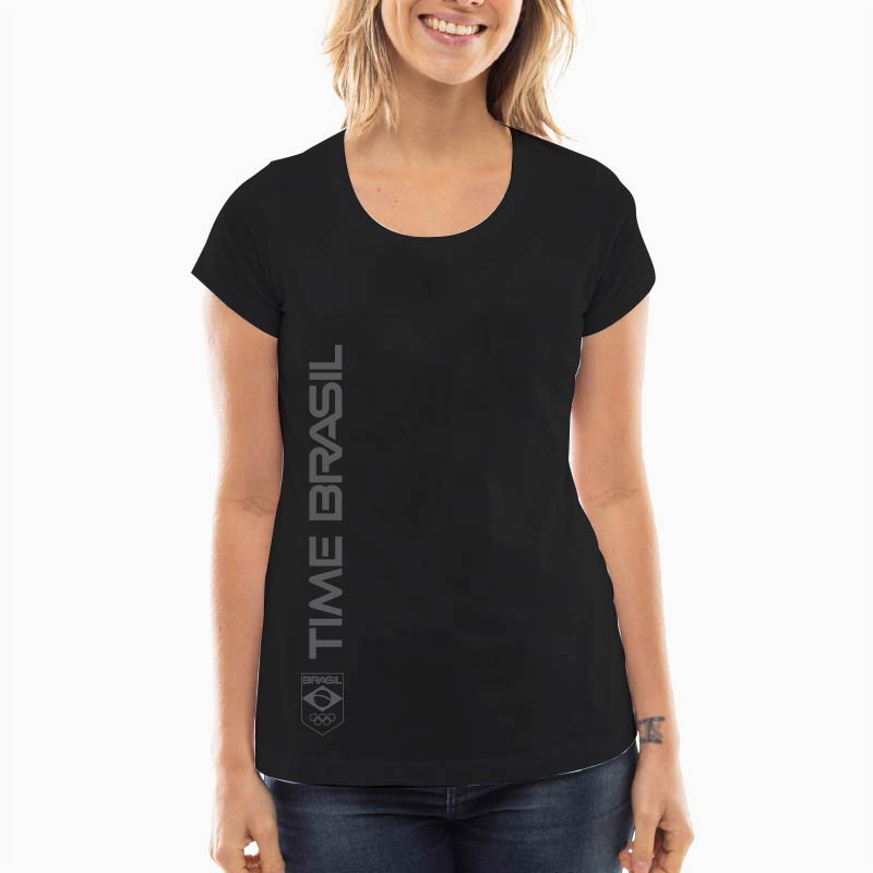 Camiseta Feminina Long Preta - 100% Algodão - Silk Time Brasil Lateral